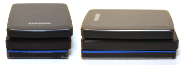 The blue Seagate (on the bottom) is the slimmest, followed by the HGST (in the middle), and the Samsung (on the top).