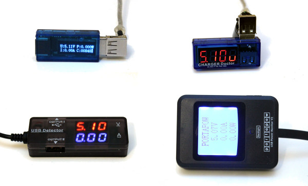four-usb-volt-meters